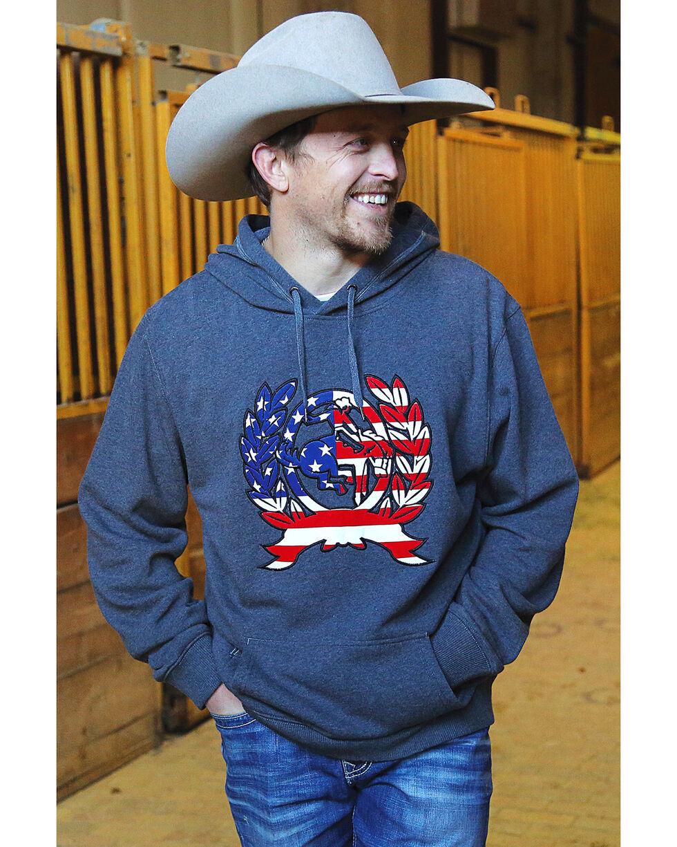 Cinch Men's American Flag Logo Applique Pullover Hoodie, Charcoal, hi-res