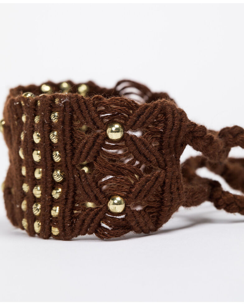 Shyanne Women's Emma Rae Dark Brown Macrame Gold Bead Tie Bracelet, Dark Brown, hi-res