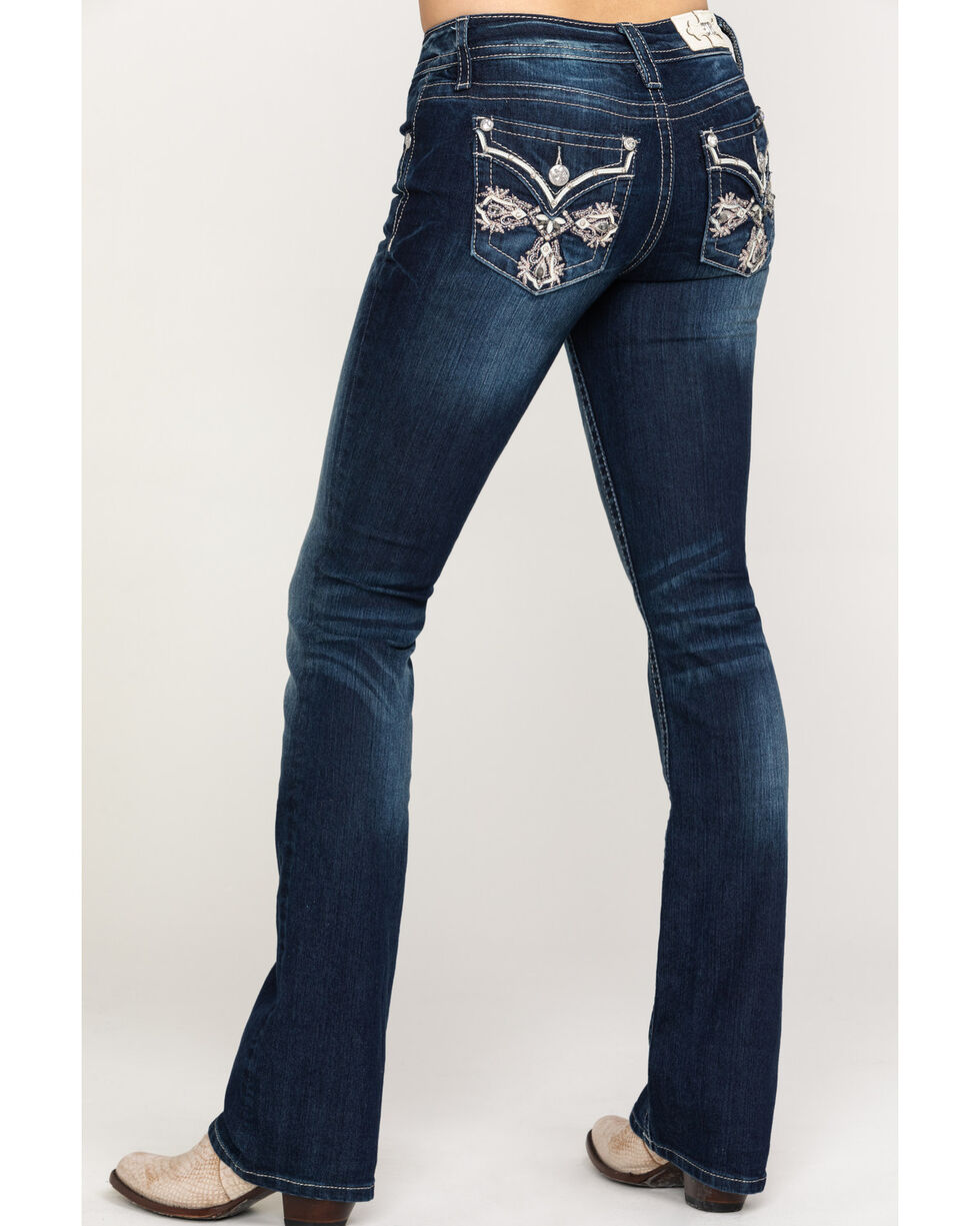 Miss Me Women's Stand By Me Embroidered Cross Pocket Boot Jeans , Dark Blue, hi-res