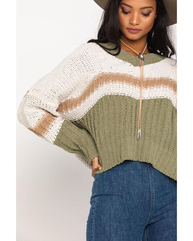 Pol Women's Sage Stripe V-Neck Sweater, Multi, hi-res