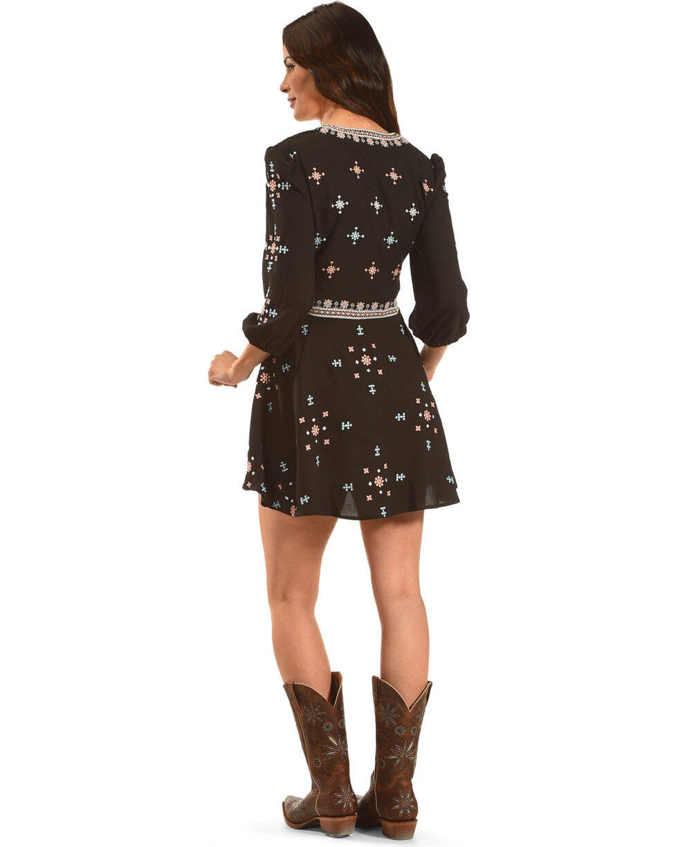 MI. OH. MI. Women's Embroidered V-Neck Dress, Black, hi-res