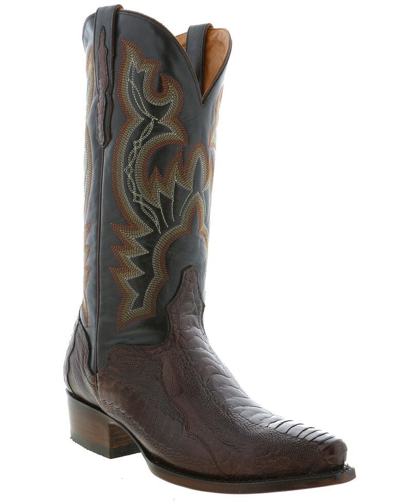El Dorado Men's Ostrich Leg Western Boots - Snip Toe, Chocolate, hi-res