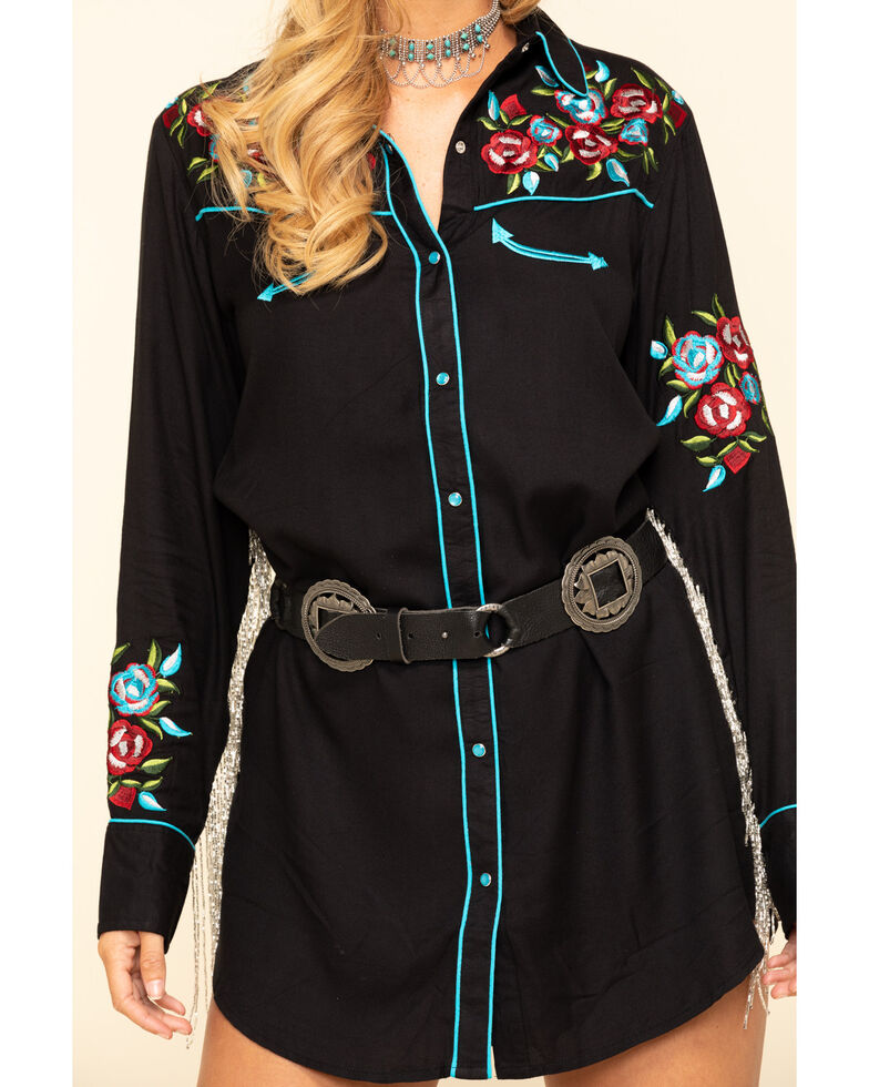 Honey Creek by Scully Women's Black Rhinestone Fringe Retro Western Dress, Black, hi-res