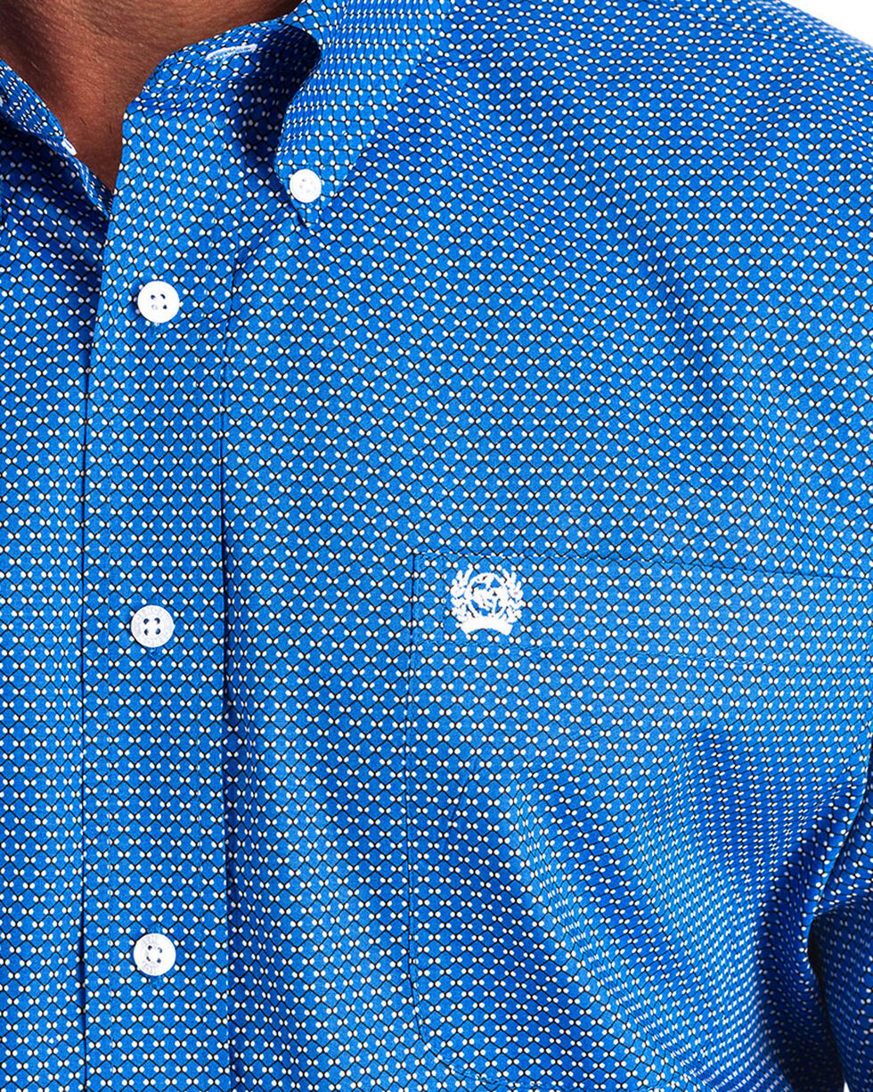 Cinch Men's Blue Print Button Up Shirt, Blue, hi-res