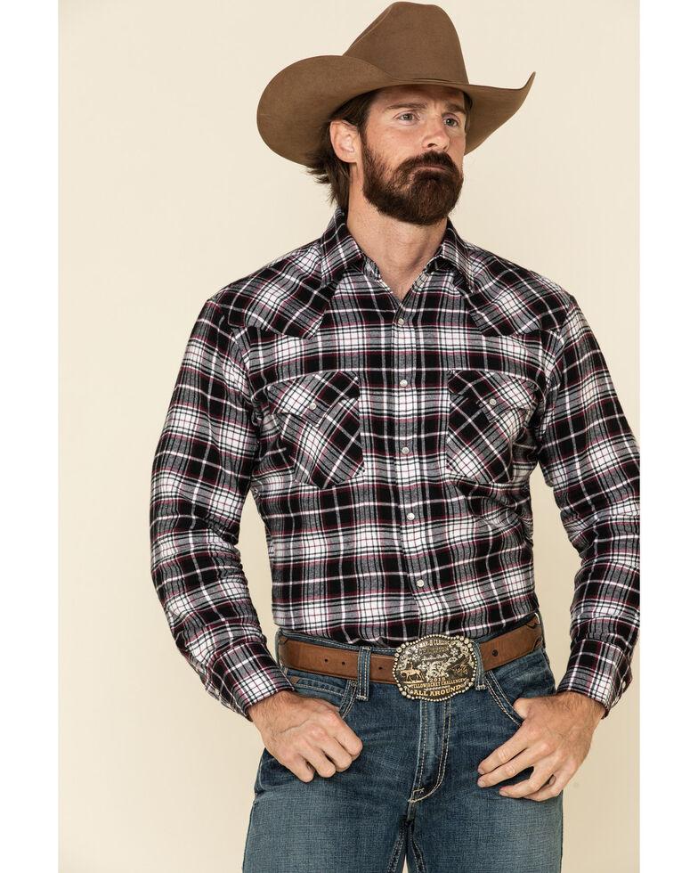 Ely Cattleman Men's Black Plaid Long Sleeve Western Flannel Shirt , Black, hi-res