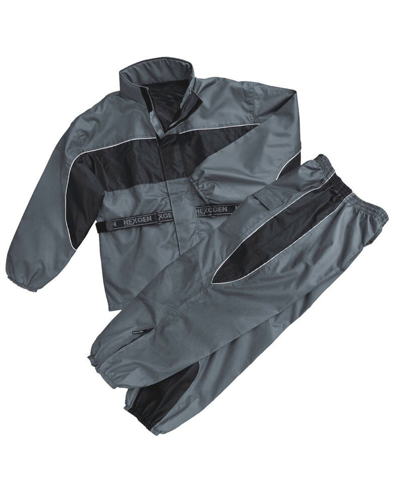 Milwaukee Leather Men's Reflective Waterproof Rain Suit - 4X, Dark Grey, hi-res