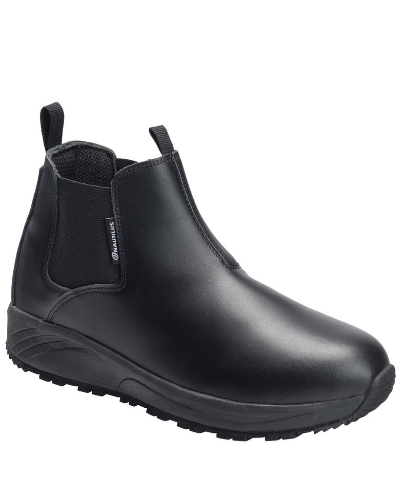 Nautilus Men's Skidbuster Pull-On Work Shoes - Soft Toe, Black, hi-res