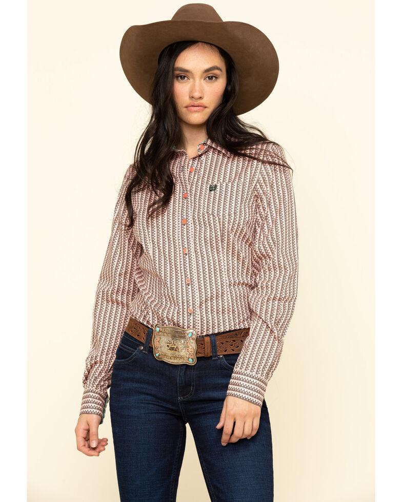 Cinch Women's Aztec Button Long Sleeve Western Shirt, Multi, hi-res