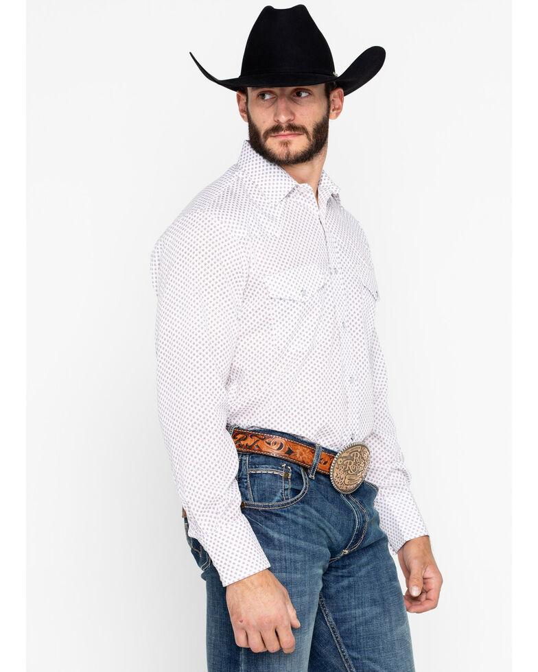 Roper Men's White Geo Print Snap Long Sleeve Western Shirt , White, hi-res
