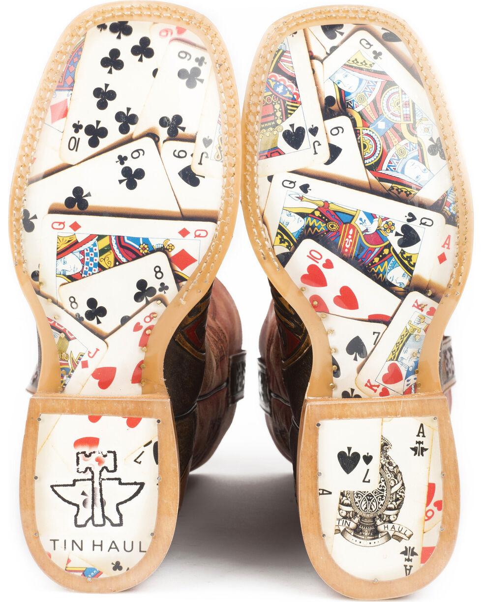 Tin Haul Men's The Gambler Card Shuffle Sole Cowboy Boots - Square Toe, Brown, hi-res