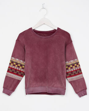 Miss Me Girls' Embroidered Pullover Sweater, Wine, hi-res