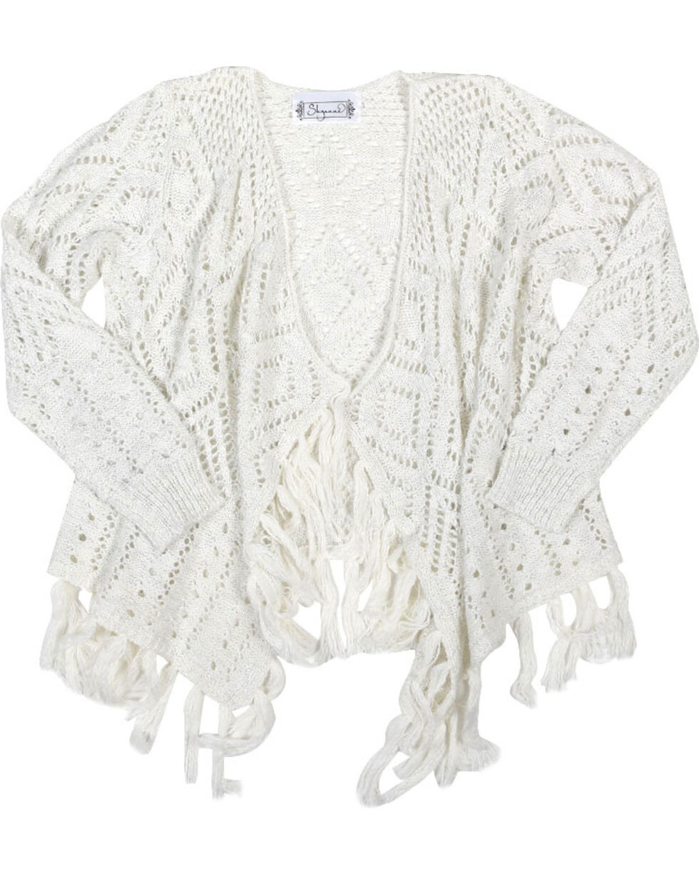 Shyanne® Girls'  Pointelle Cardigan, Ivory, hi-res