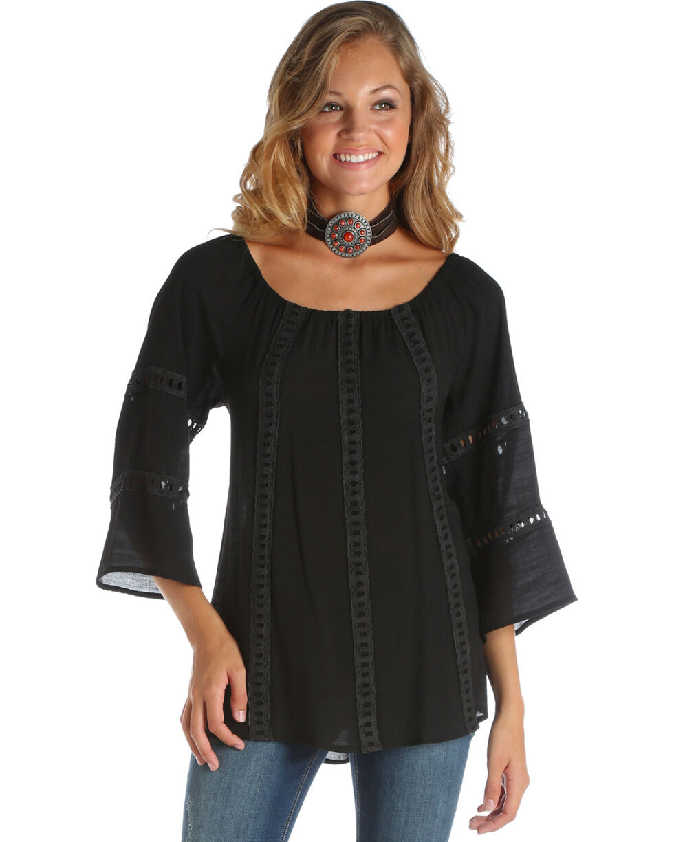 Wrangler Women's Black Off The Shoulder Lace Top , Black, hi-res