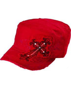 Embellished Cross Patch Casual Cap, Red, hi-res
