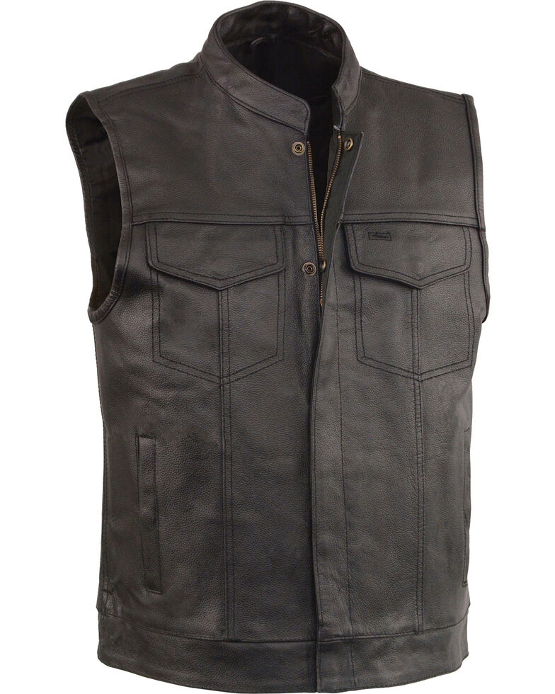 Milwaukee Leather Men's Black Open Neck Club Style Vest - Big 3X, Black, hi-res