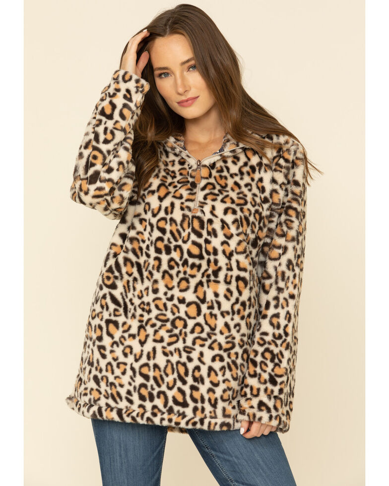 Kaydid Women's Leopard Faux Fur Hooded 3/4 Zip Pullover , Leopard, hi-res