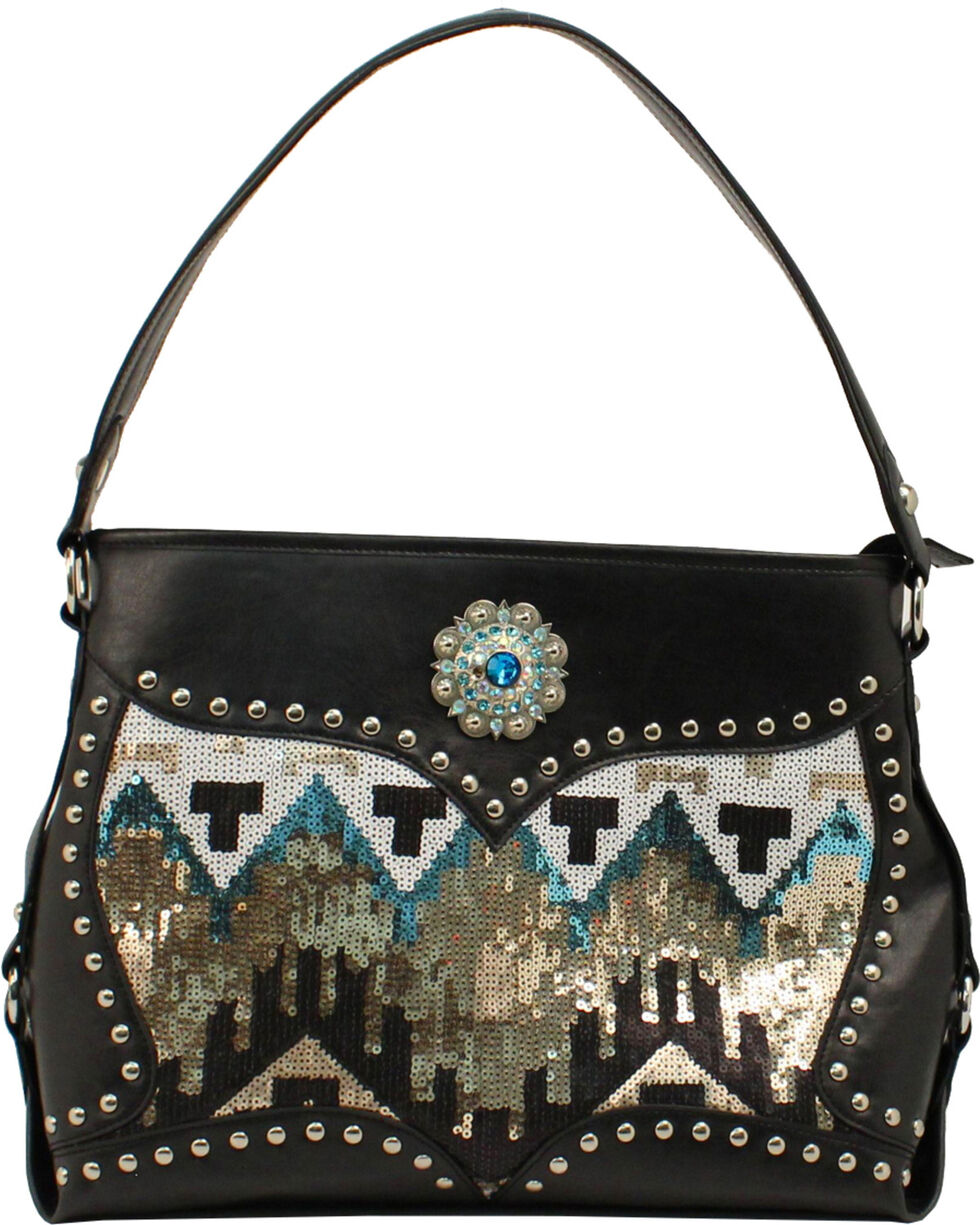 Blazin' Roxx Women's Sequin Aztec Purse, Black, hi-res