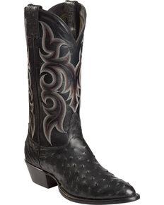 Nocona Men's Vintage Full-Quill Ostrich Western Boots, Black, hi-res