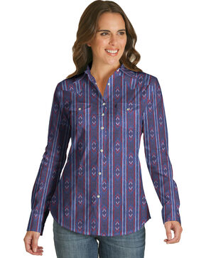 Wrangler Women's Blue Vertical Aztec Print Shirt , Blue, hi-res