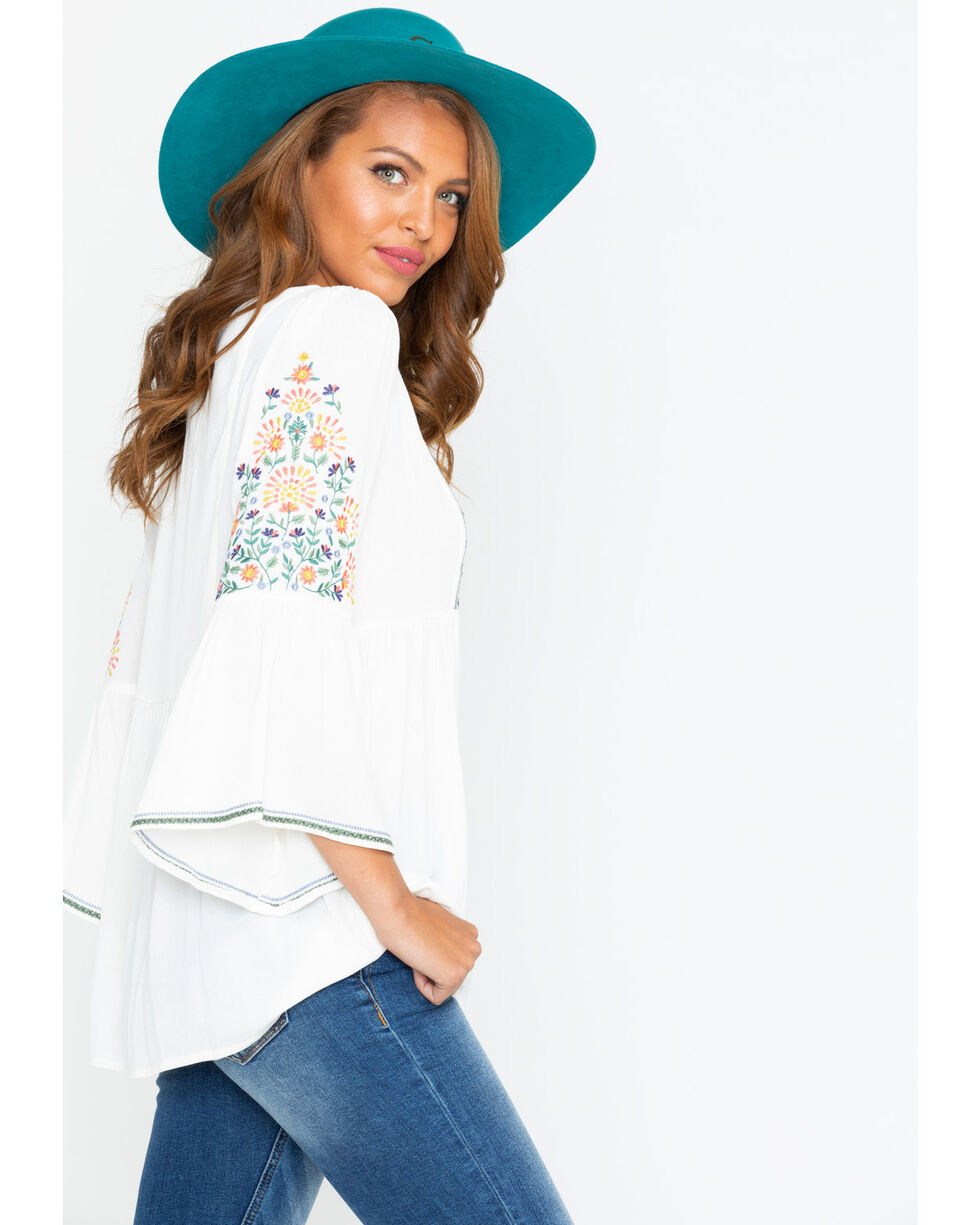 Miss Me Women's Spring Days Peasant Top , White, hi-res