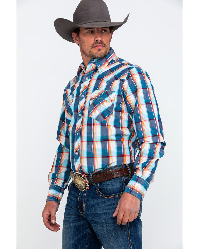 Roper Men's Multi Large Plaid Long Sleeve Western Shirt , Blue, hi-res