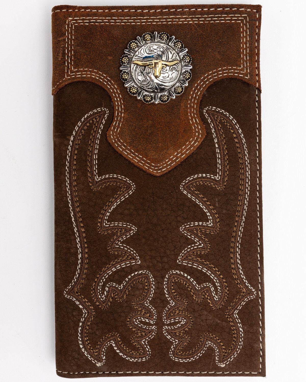 Ariat Mens Western Wallet//Tri-fold//Brown//Boot Stitch