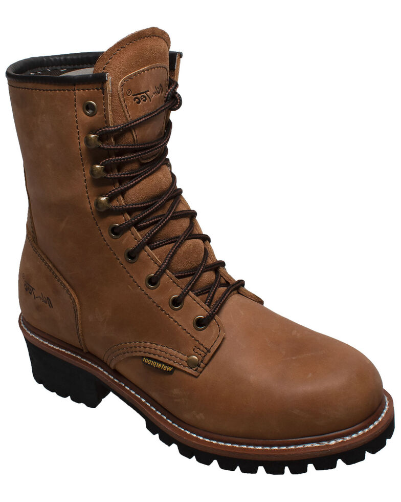 "Ad Tec Men's 9"" Waterproof Logger Work Boots - Soft Toe, Brown, hi-res"