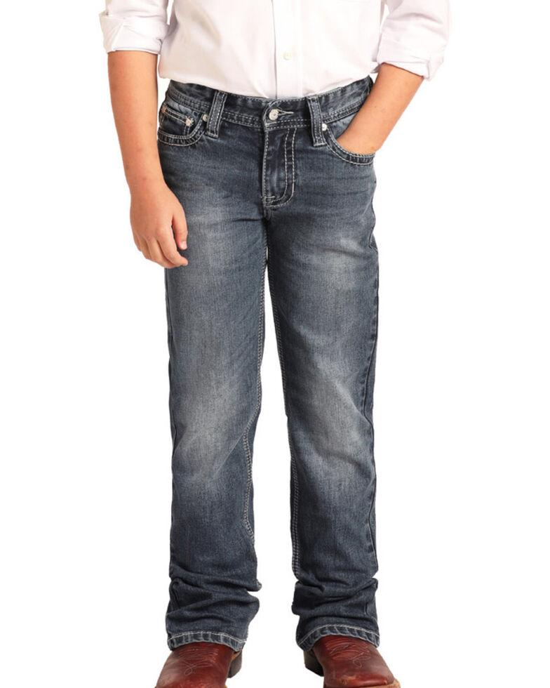 Rock & Roll Cowboy Boys' Reflex Medium Vintage Stretch Boot Jeans , Blue, hi-res
