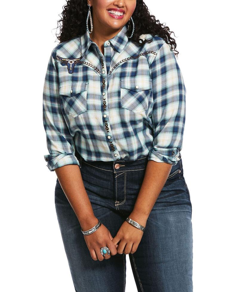 Ariat Women's Navy Plaid R.E.A.L. Snap Long Sleeve Western Shirt - Plus, Navy, hi-res