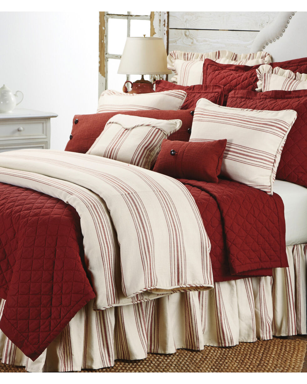 HiEnd Accents 3-Piece Prescott Stripe Red King Set, Red, hi-res