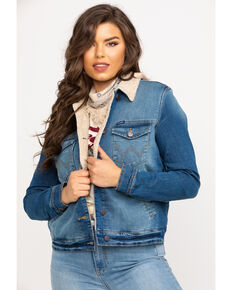 Wrangler Women's Denim Sherpa Lined Jacket, Blue, hi-res