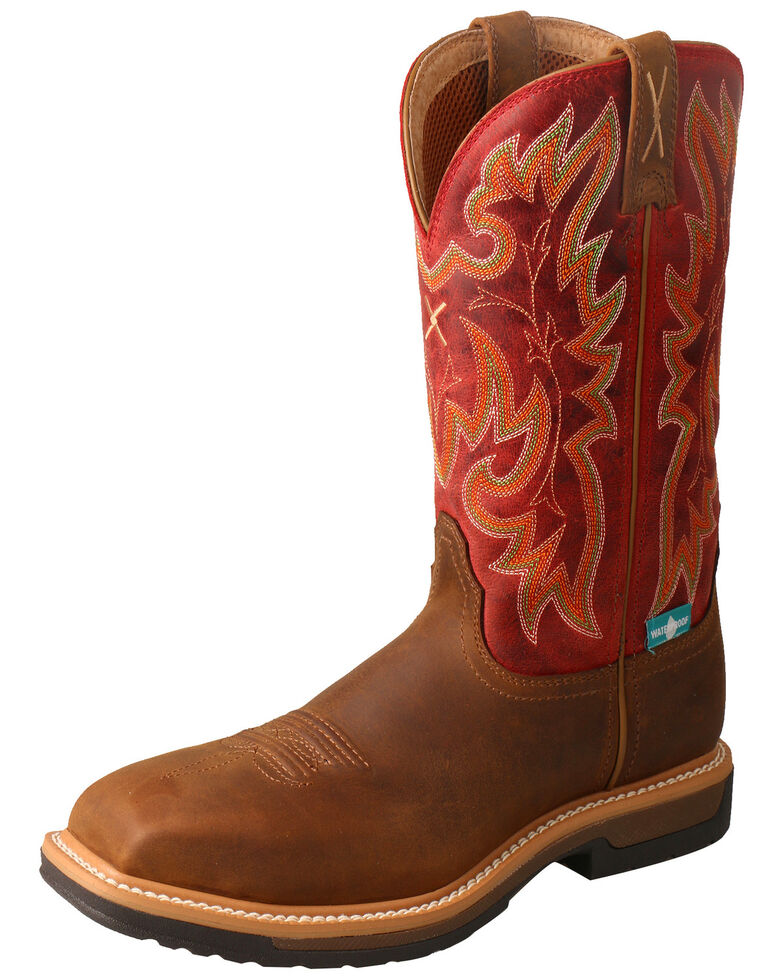 Twisted X Women's Lite Cowboy Waterproof Work Boots - Safety Toe, Red, hi-res