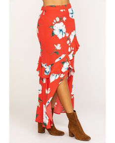 Miss Me Women's Red Floral Wrap Ruffle Skirt, Red, hi-res