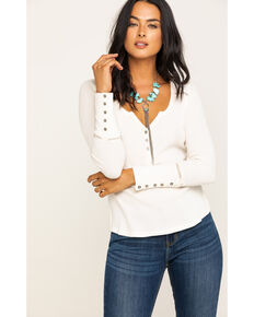 Idyllwind Women's Bless Your Heart Beaded Henley, Ivory, hi-res