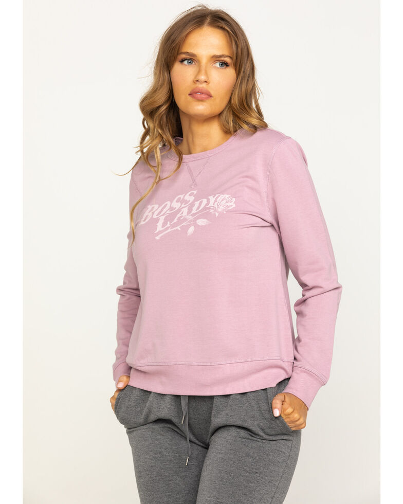 Idyllwind Women's Cozytown Boss Lady Sweatshirt, Mauve, hi-res