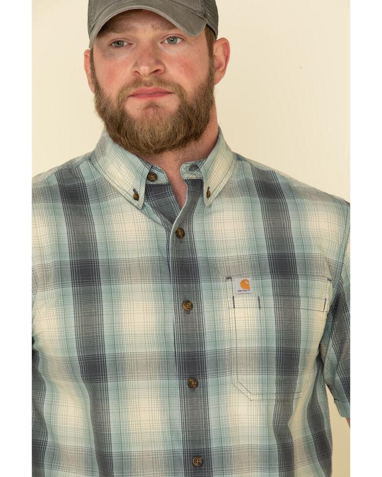 Carhartt Men's Blue Essential Plaid Button Down Short Sleeve Work Shirt , Blue, hi-res