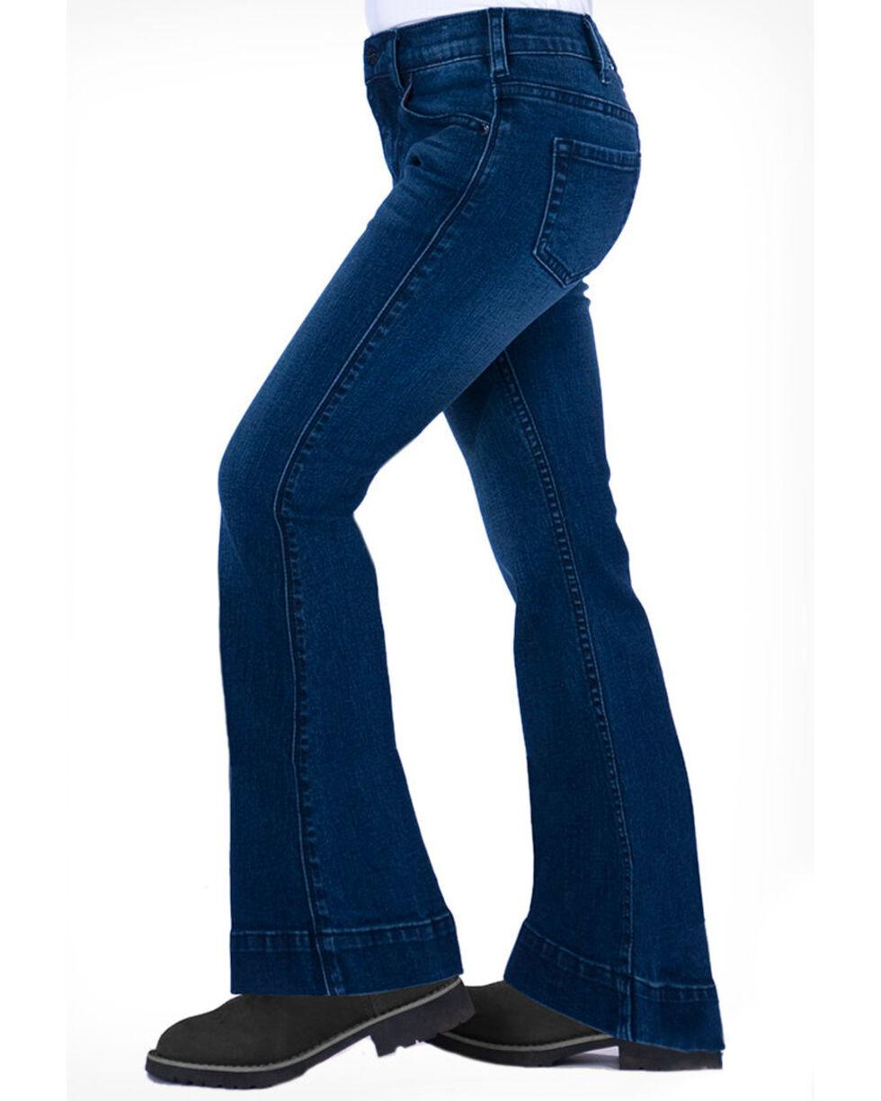Cowgirl Tuff Girls' Medium Wash Flex Trousers , Blue, hi-res