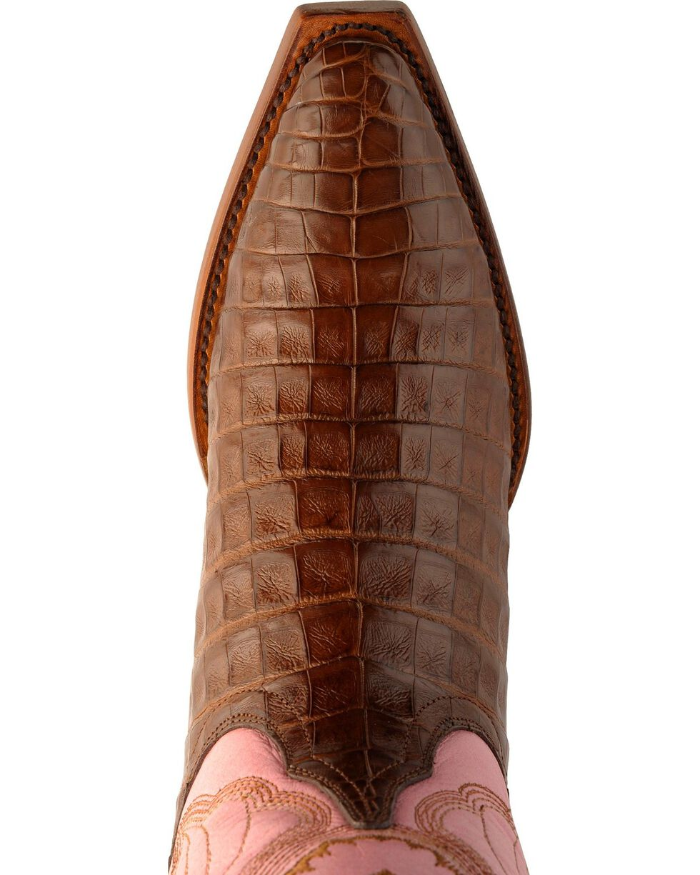 Ferrini Blush Pink Caiman Belly Cowgirl Boots - Snip Toe, Chocolate, hi-res