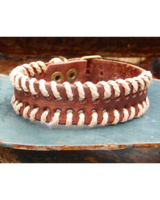 Jewelry Junkie Vintage Laced Leather Cuff, Brown, hi-res