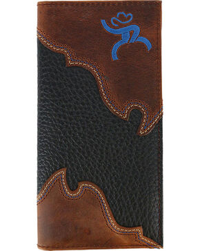 HOOey Men's Roughy Overlay Rodeo Wallet, Black, hi-res
