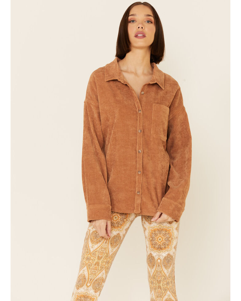 Wishlist Women's Solid Corduroy Oversized Long Sleeve Button-Down Western Shirt , Camel, hi-res