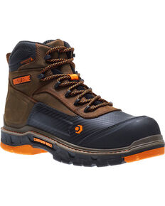 "Wolverine Men's Brown Overpass Carbonmax 6"" Waterproof Boots - Composite Toe , Brown, hi-res"