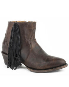 Roper Women's Burnished Fringe Fashion Booties - Round Toe, Brown, hi-res