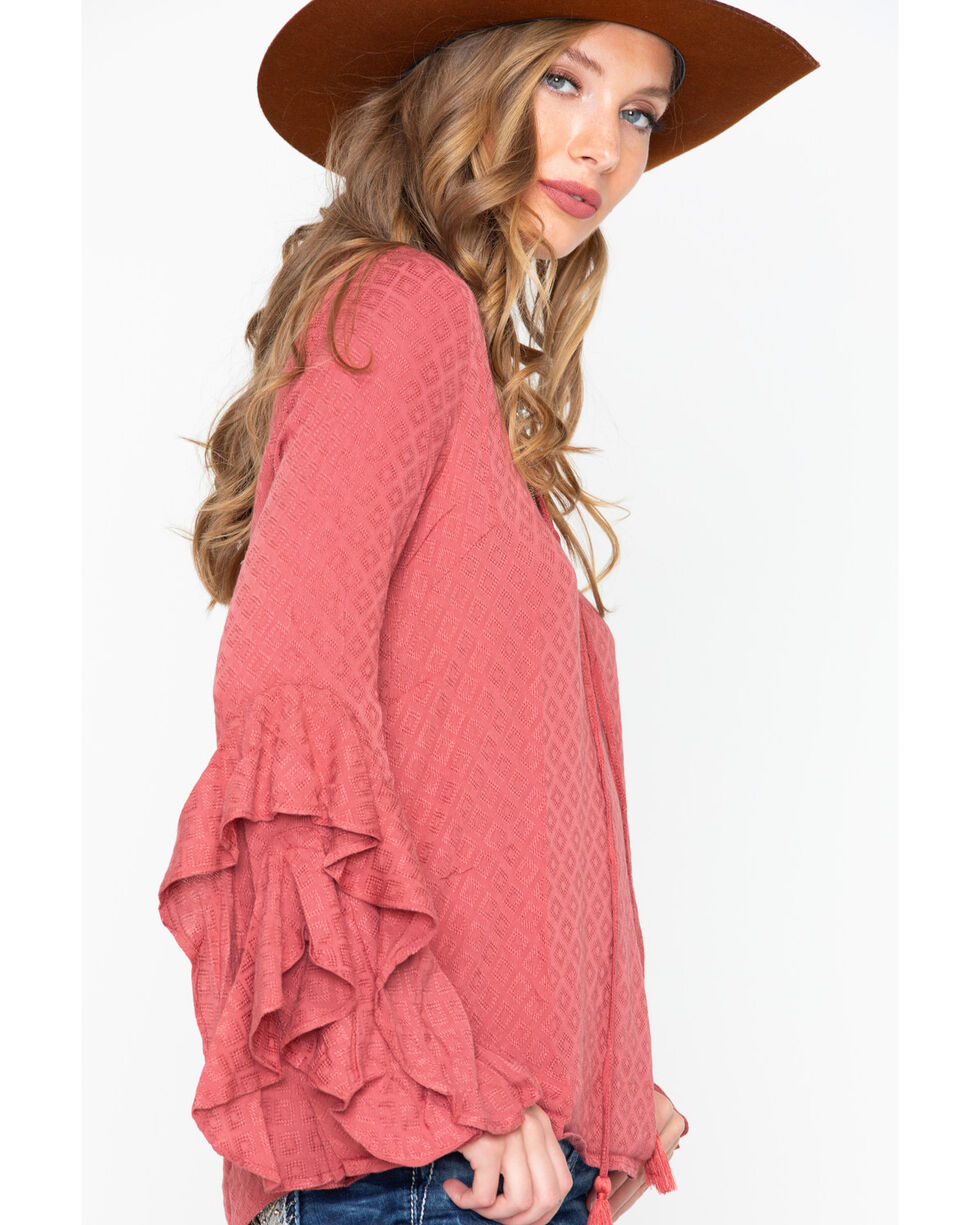 Miss Me Women's Dobby Ruffle Bell Sleeve Top , Mauve, hi-res