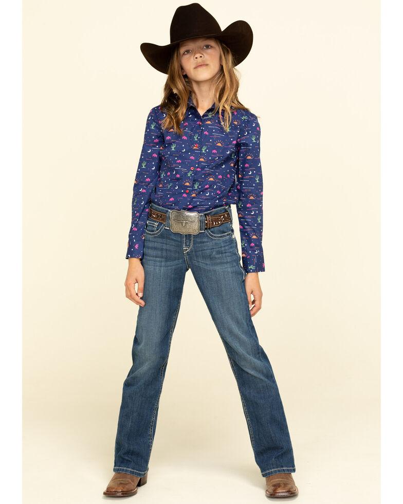 Cruel Girl Girls' Novelty Print Snap Long Sleeve Western Shirt, Navy, hi-res