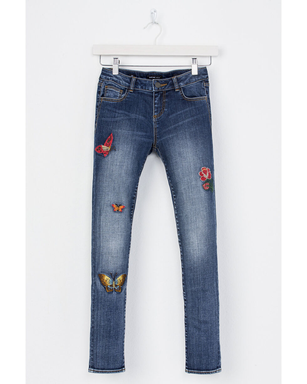 Miss Me Girls' Fly Free Skinny Jeans, Indigo, hi-res