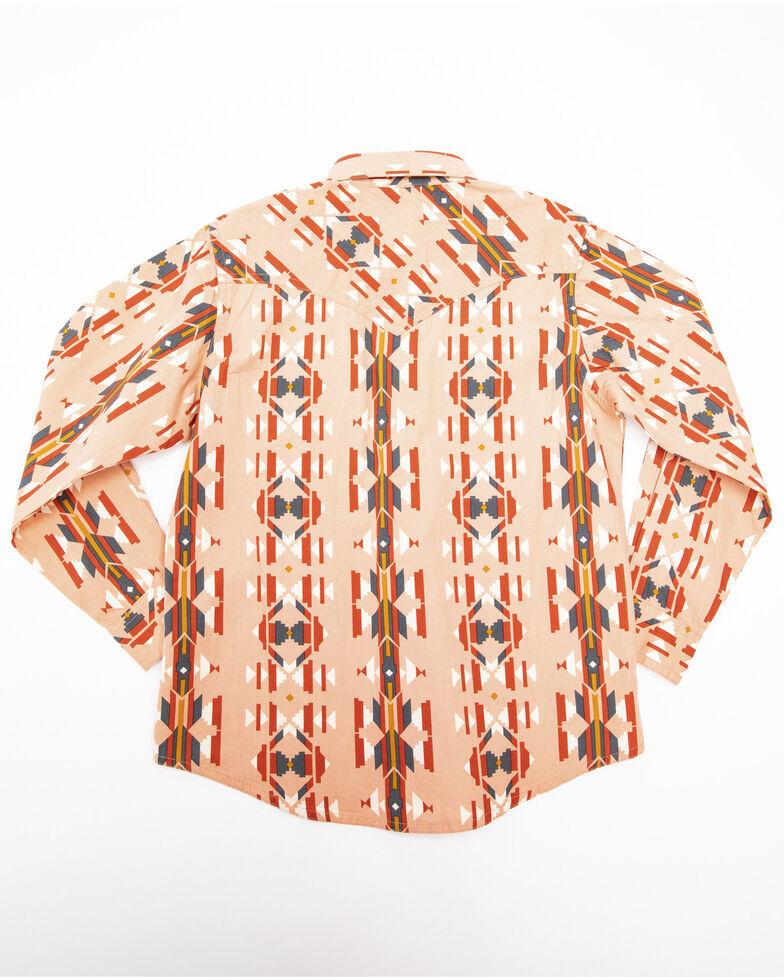 Wrangler Girls' Coral Aztec Snap Long Sleeve Western Shirt , Coral, hi-res