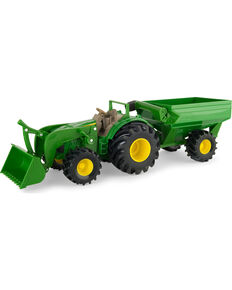 John Deere Monster Treads Toy Tractor with Wagon , No Color, hi-res