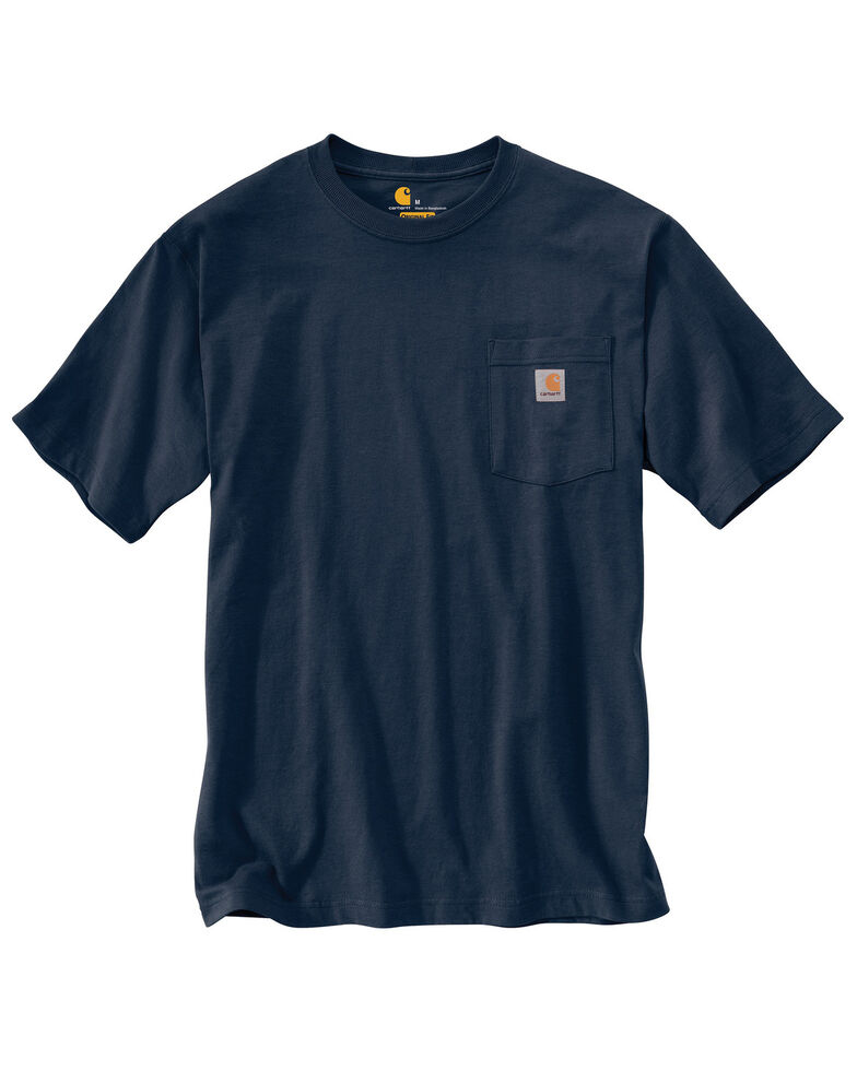 Carhartt Men's Solid Short Sleeve Pocket Work T-Shirt - Big & Tall, Navy, hi-res