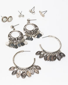 Shyanne Women's White Falls 6 Piece Hoop Studded Earring Set , Silver, hi-res